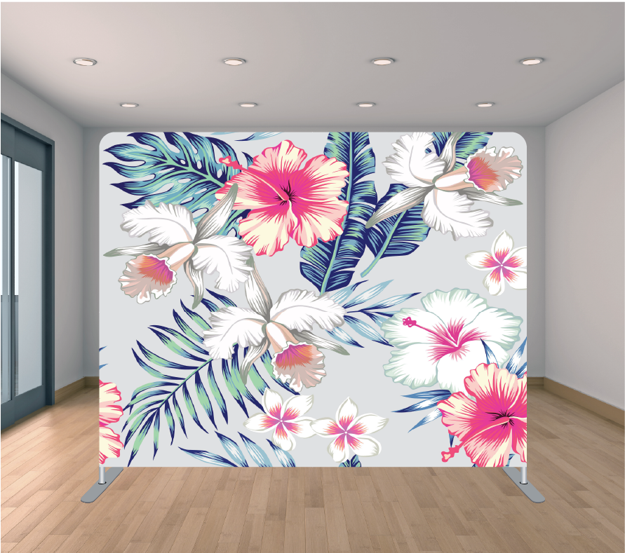 8X8ft Pillowcase Tension Backdrop- Tropic Flowers 2