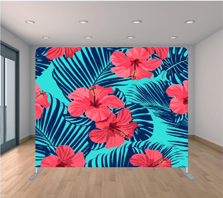8X8ft Pillowcase Tension Backdrop- Tropic Flowers 1