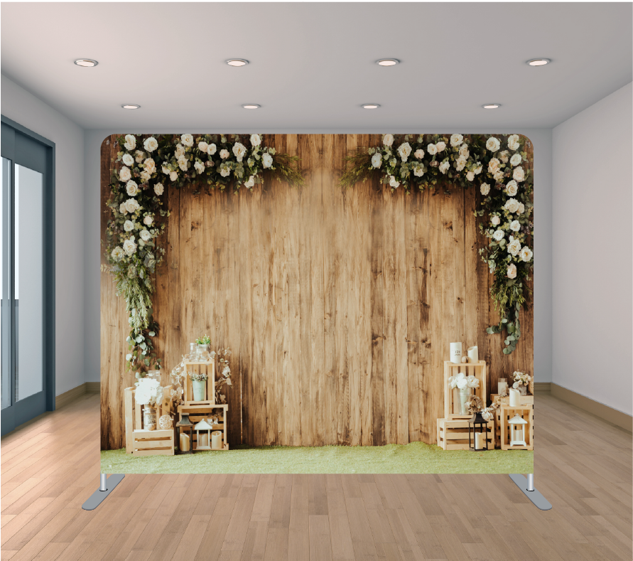 8x8ft Pillowcase Tension Backdrop- Two Way Wood Flowers