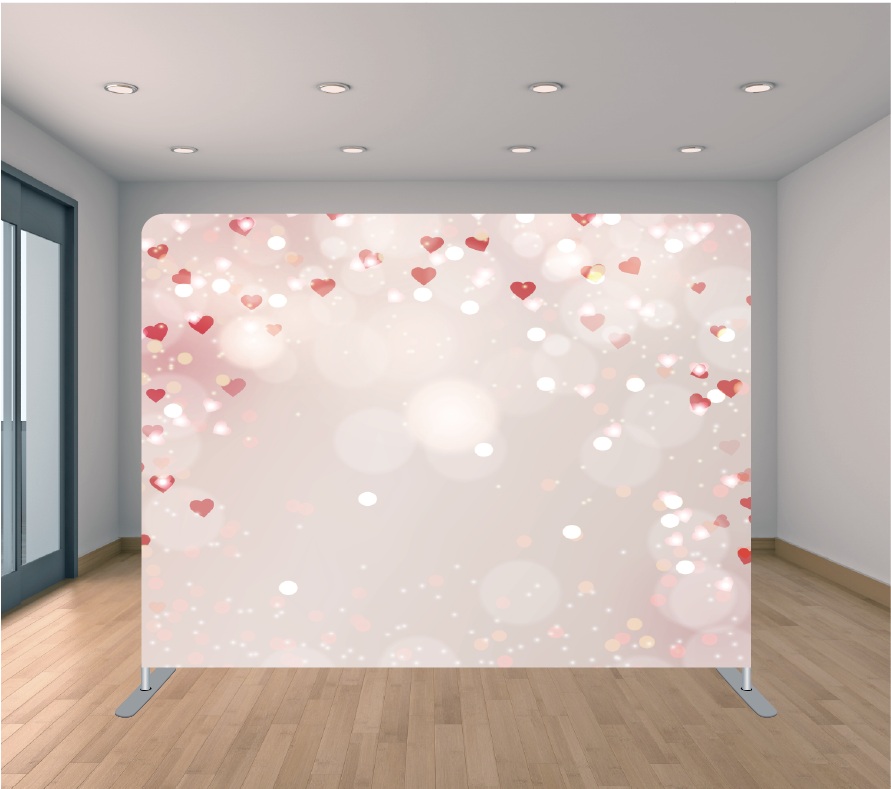 8x8ft Pillowcase Tension Backdrop- Mini Hearts