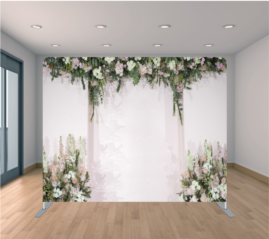 8x8ft Pillowcase Tension Backdrop- Wedding Flower Corners