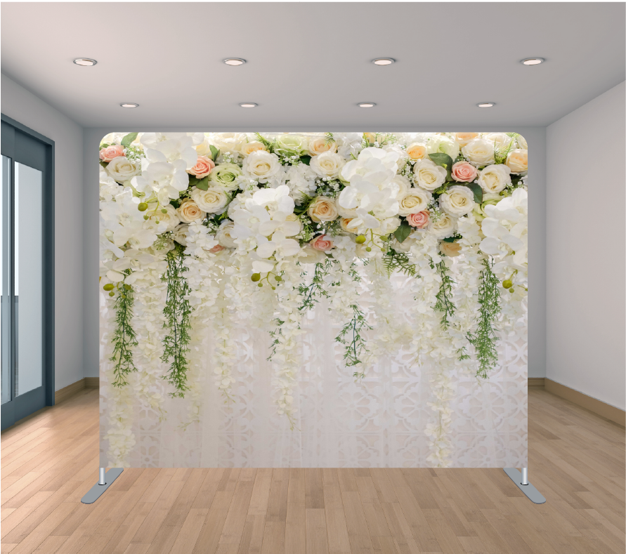 8X8ft Pillowcase Tension Backdrop- White Hanging Flowers