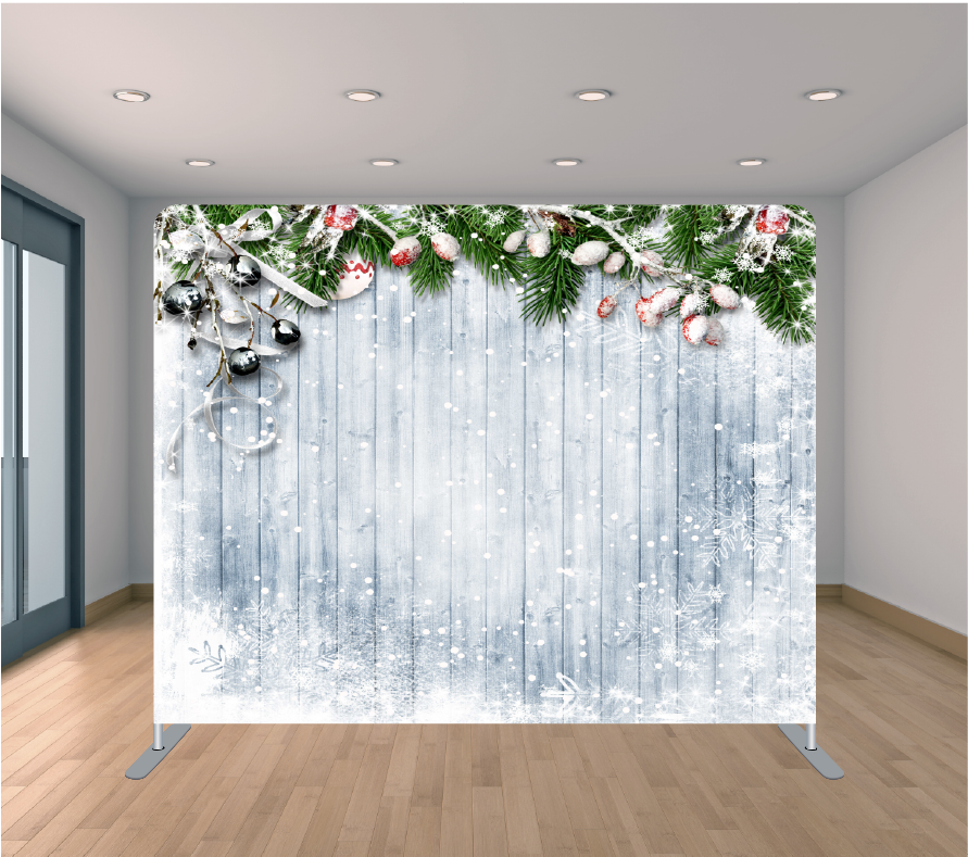 8X8ft Pillowcase Tension Backdrop- White Snow Wood (Holiday)