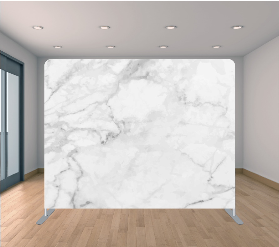 8x8ft Pillowcase Tension Backdrop- White and Grey Marble