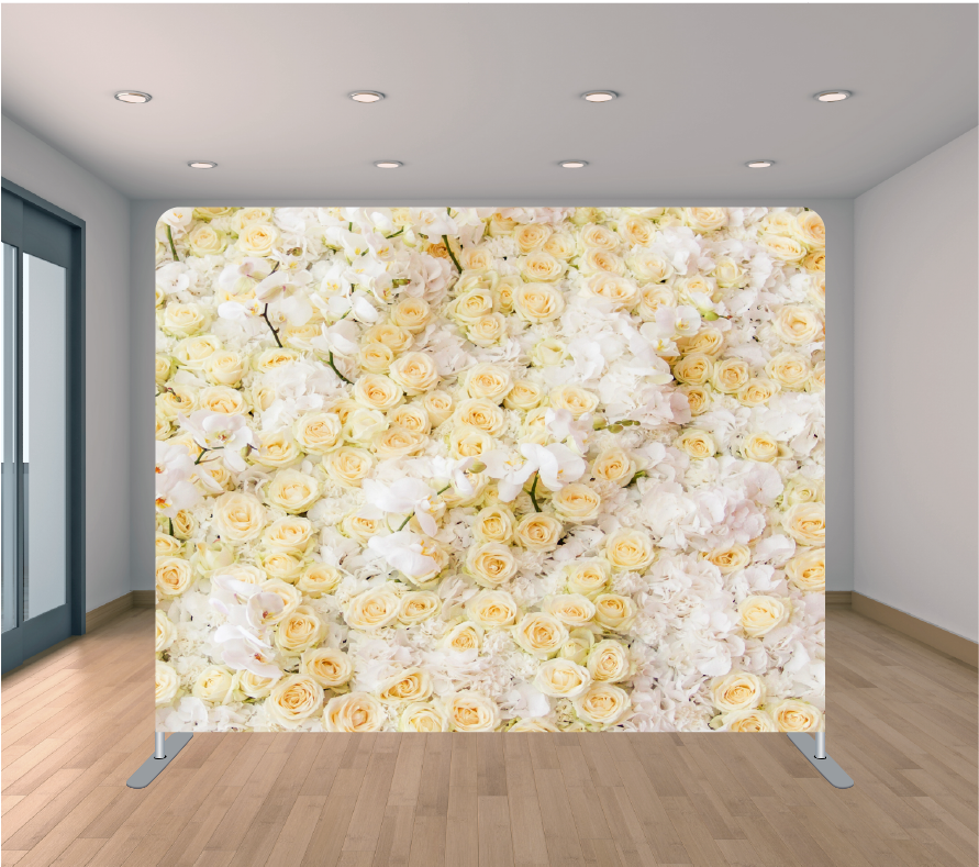 8X8ft Pillowcase Tension Backdrop- White and Peach Roses