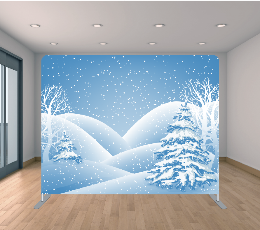 8X8ft Pillowcase Tension Backdrop- Winter Days (Holiday)