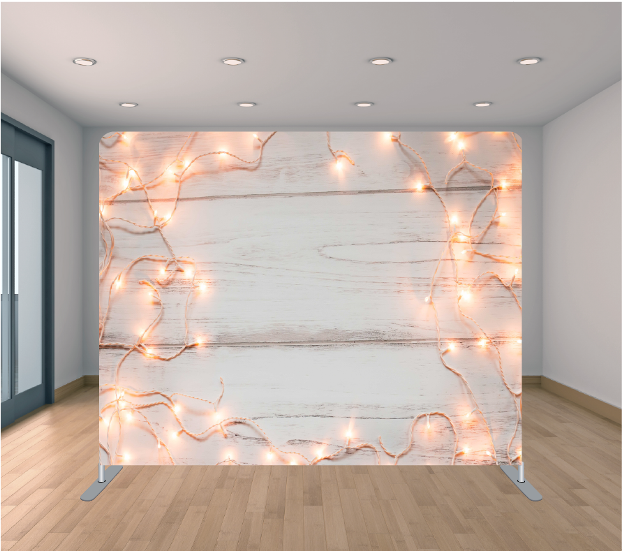 8x8ft Pillowcase Tension Backdrop- Wooden Christmas Lights