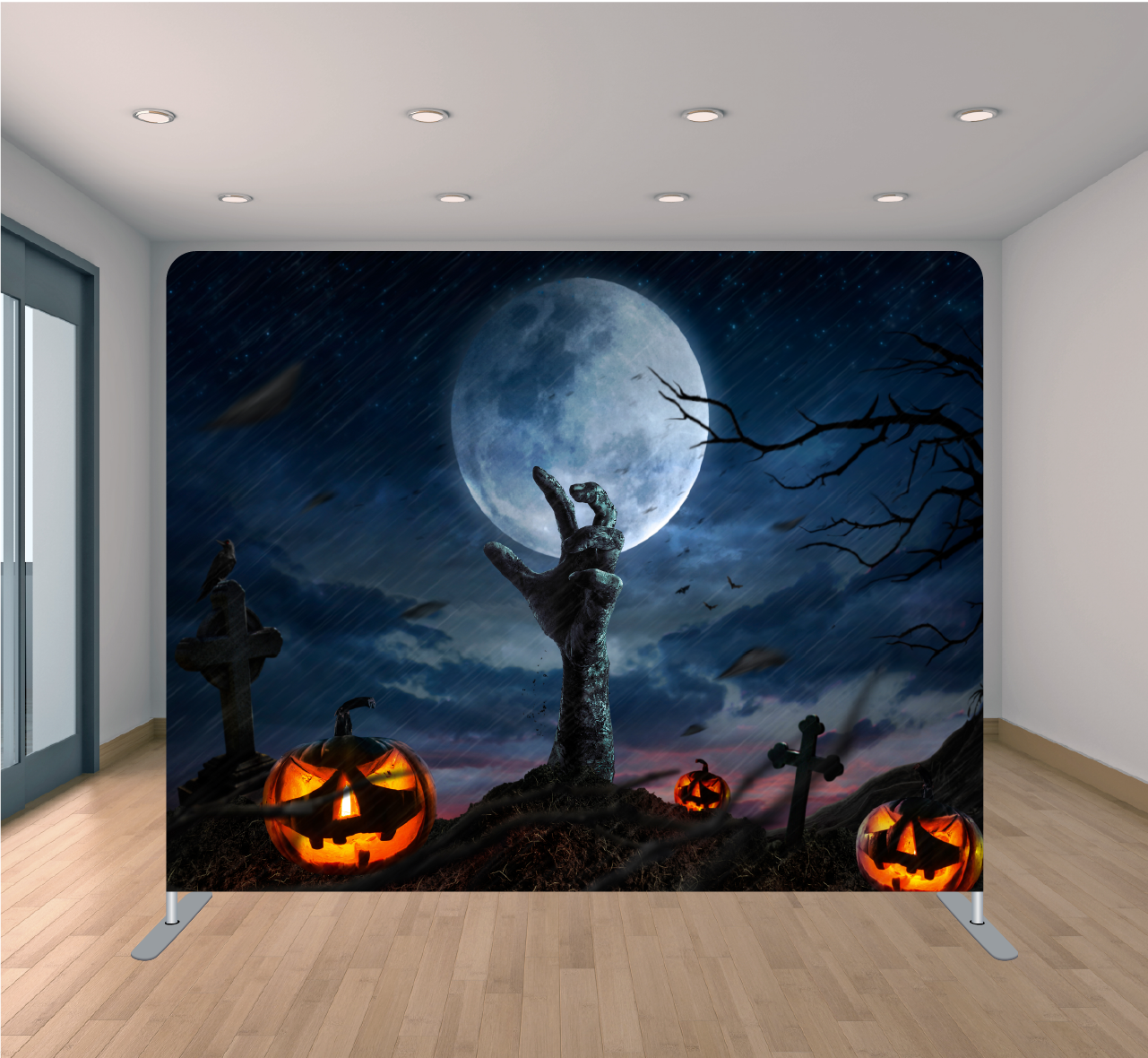 8X8ft Pillowcase Tension Backdrop- Zombie Hands