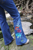 "Upcycled Embroidered Bell Bottoms ""Gardening at Night"""