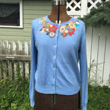 "ALTERED COUTURE FEATURED Upcycled Cardigan ""Alice's Garden"""