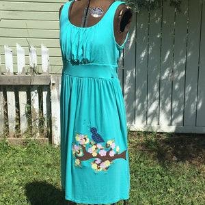 "CLEARANCE! Upcycled Dress ""Blue Bird and Blossoms"""