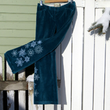 "Upcycled Embroidered Pants ""Winterland"""