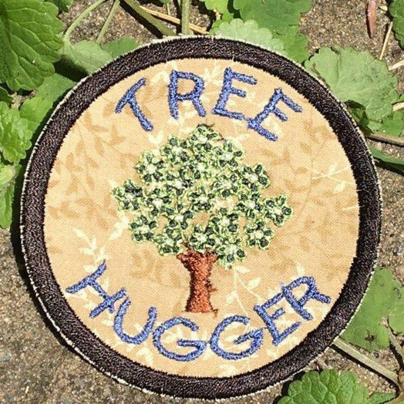 Tree Hugger, handmade iron on patch