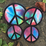 Handmade Peace sign iron on patch.
