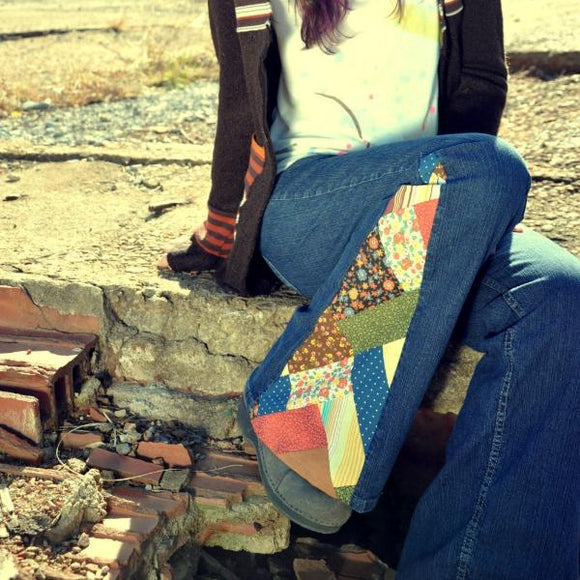 SEND YOUR JEANS - Made to Order patchwork bell bottoms