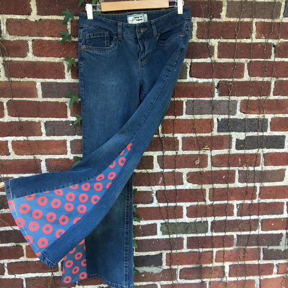Upcycled Phish Bell Bottoms, Fishman Donuts Fabric