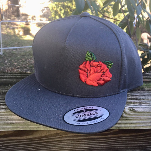 Rose & Bolt Hat, 3D Puff Embroidery, Grateful Dead inspired