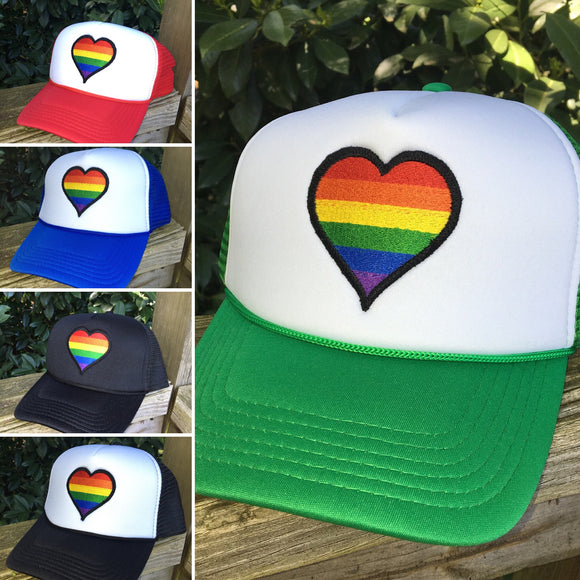 Rainbow Heart foam trucker hat