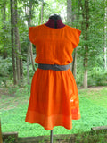 "Handmade Dress ""Tangerine Circles"