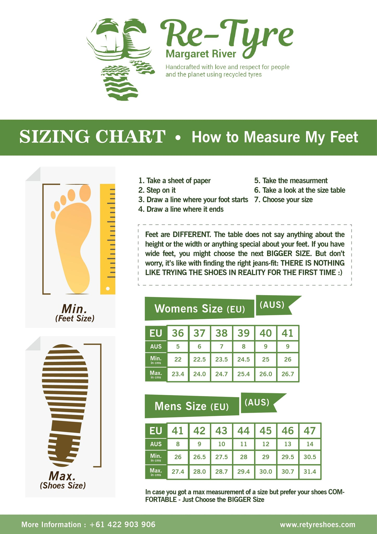 Retyre Shoes Sizing Chart
