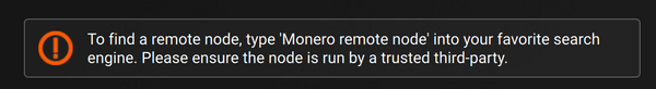 Monero remote node warning message in the official GUI wallet client