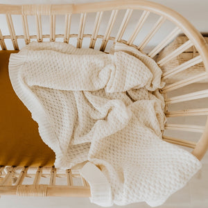 Cream Knitted Baby Cot Blanket