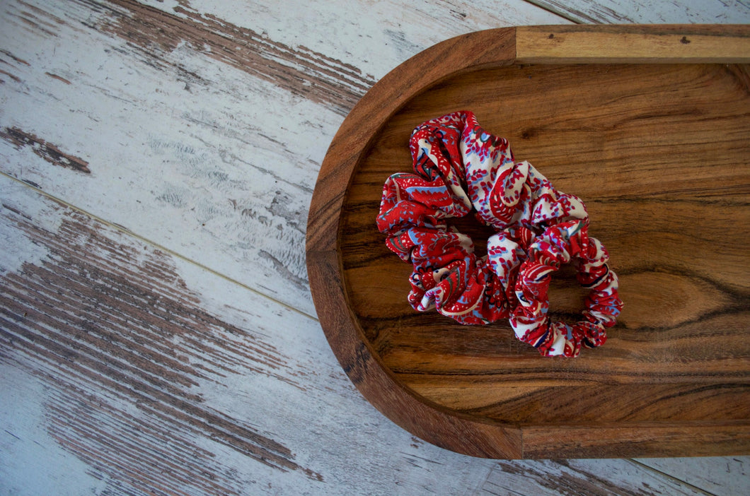 Red and White Scrunchie