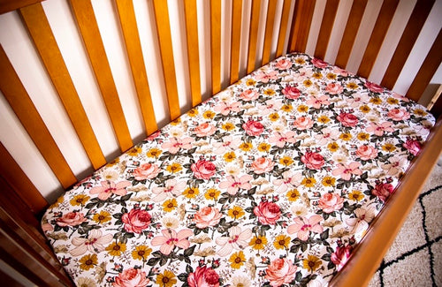 Cot Sheet - Aurora Flowers (Large Print)