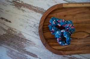 Light Blue with Flowers Scrunchie