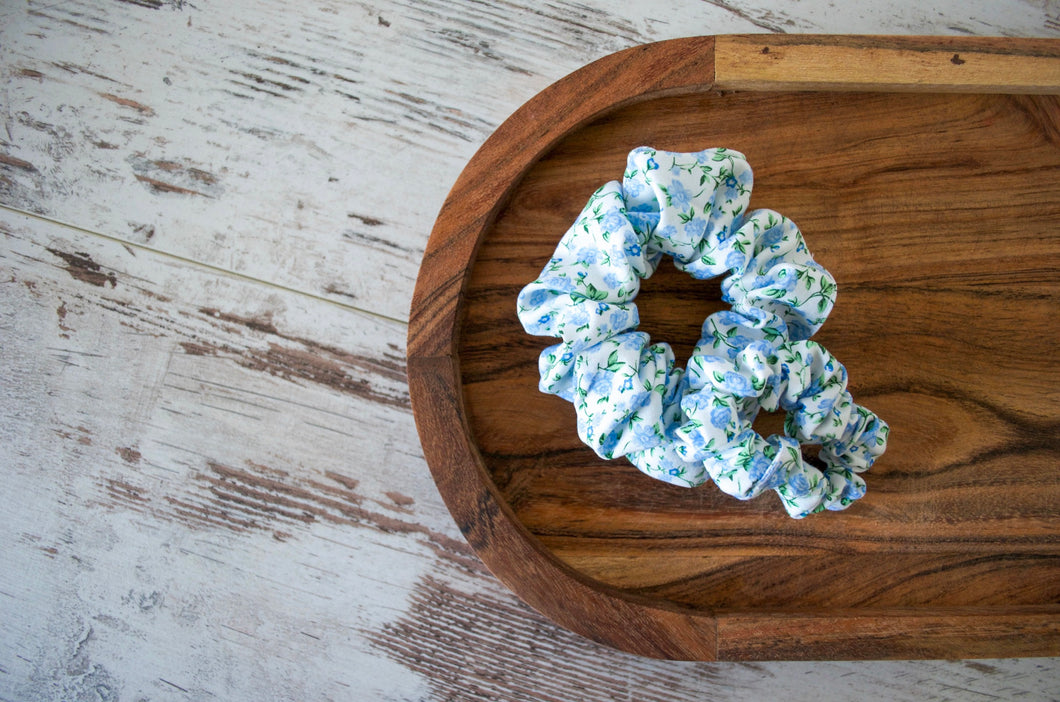 Vintage Blue Flowers Scrunchie