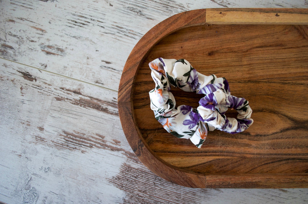 Purple Flowers Scrunchie