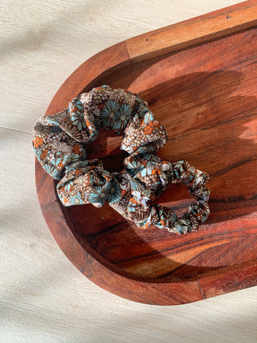 Vintage Brown Busy Flowers Scrunchie