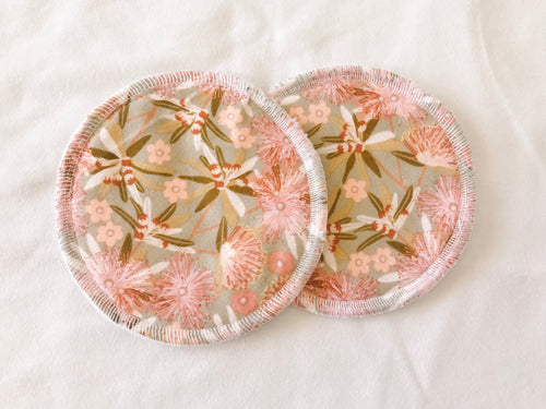 Breast Pad - Cream and Pink Flowers