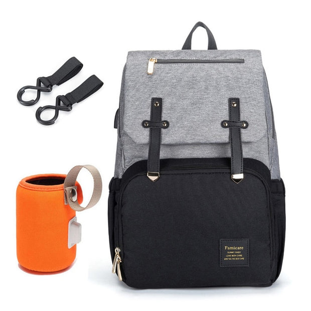 USB Waterproof Oxford Diaper Bookbag