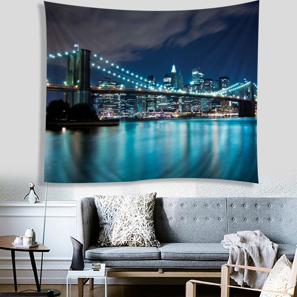 Blue City Polyester Tapestry