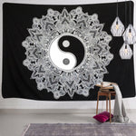 Black And White YinYang Tapestry
