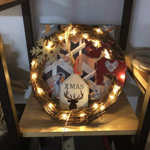 Wreth Ornament with 20pcs LED Fairy Lights for Christmas