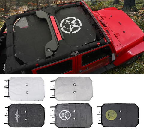 Miker Top Sunshade Mesh Car Cover Roof UV Proof Protection Net for Jeep Wrangler JK 2&4 Door