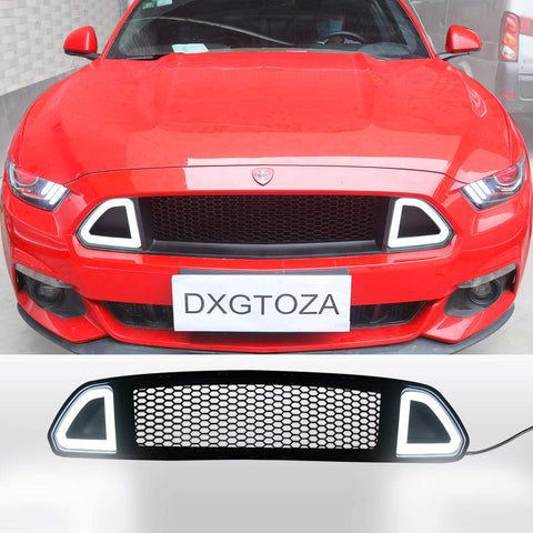 LED DRL Honeycomb Mesh Front Bumper Upper Grill Grille for 2015 2016 2017 Ford Mustang EcoBoost and GT