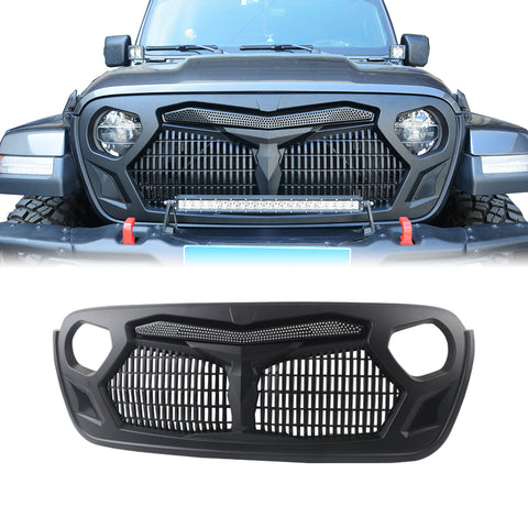 MAIKER Front Armor Style Grille Grid Grill for 2018-2019 Jeep Wrangler JL JLU Rubicon Sahara Sport, Matte Black