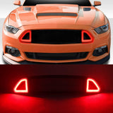 Front Bumper Mesh Grille Grid Grill for Ford Mustang 2015 2016 2017 With Red LED Lights Grilles