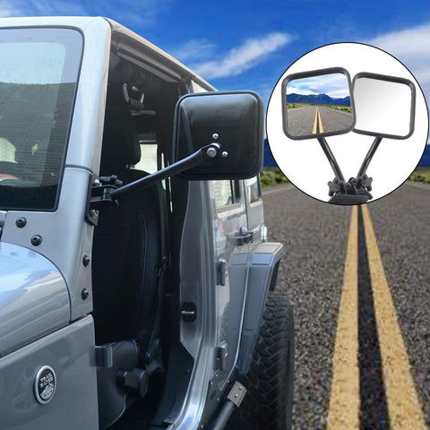 Maiker Door Off Mirrors Square Quick Release Mirrors for Jeep Wrangler Jeep JK Side Rear View Mirror for Jeep Wrangler