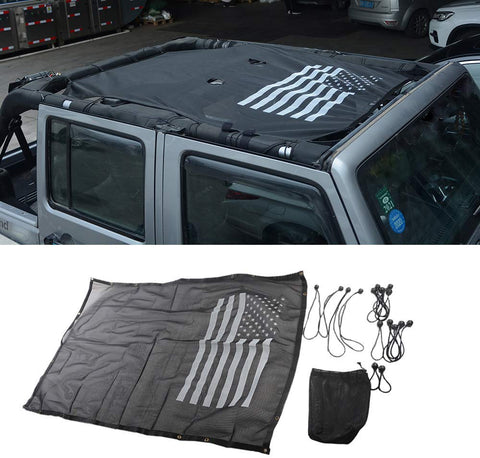 Maiker  SUNSHADE Fit for Jeep JK Full Mesh Sunshade Bikini Top Cover for JK Wrangler Sahara Rubicon 4 Doors 2007-2017, USA Flag