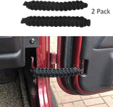 Maiker Fits for Jeep Wrangler | Paracord Door Limiting Straps CJ YJ TJ JK | 550 Pound Strength Durable Swing Limiter Restrictor Pair (2 Pieces,Black)