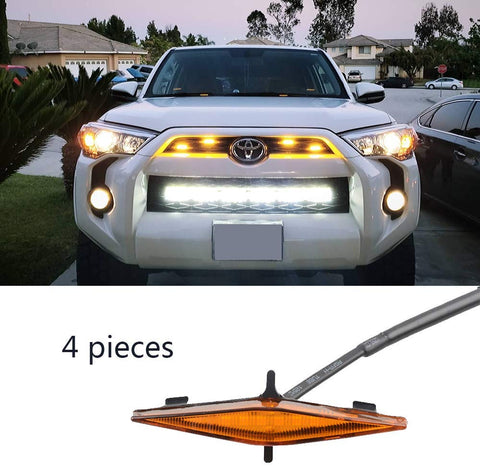 Maiker Grille Amber Lights Fit for 4Runner TRD Pro Grille 2014 2015 2016 2017 2018 2019 4 Pcs LED Lights