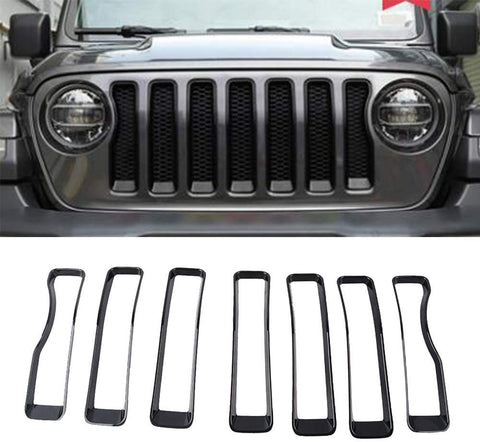 Maiker Grill Insert Fit for Jeep Grill Insert ABS JL Black Front Inserts Covers for original 2018 2019 Jeep Wrangler JL
