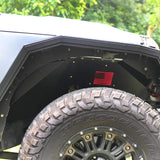 MAIKER Front Inner Fender Liner with Light Fits for Jeep Wrangler 2007-2017 JK 4WD wiht US Flag Logo (Lightweight Aluminum,Black)