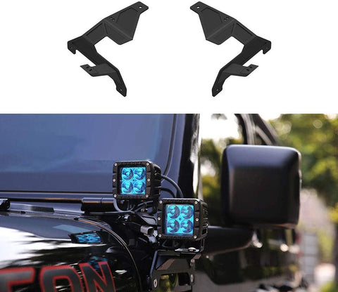 MAIKER Lower Windshield A-Pillar Double Height Bracket Light Bar Mount Rack Brackets Kit for 2018-2020 Wrangler JL