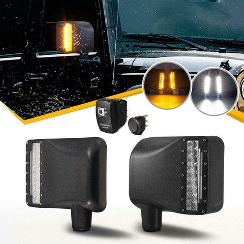 Side Mirror Housing Rearview Mirror Housing with White Spot Lights and Amber Turn Signal Lights for 2007-2018 Jeep Wrangler JK JKU (Two Switch)