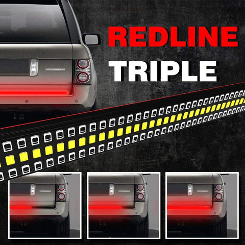 MAIKER 60 inches Redline Triple LED Tailgate Bar Solid Red Turn Signal Full Function Reverse Brake Running Lights for Pickup SUV Dodge Ram Toyota Chevy GMC